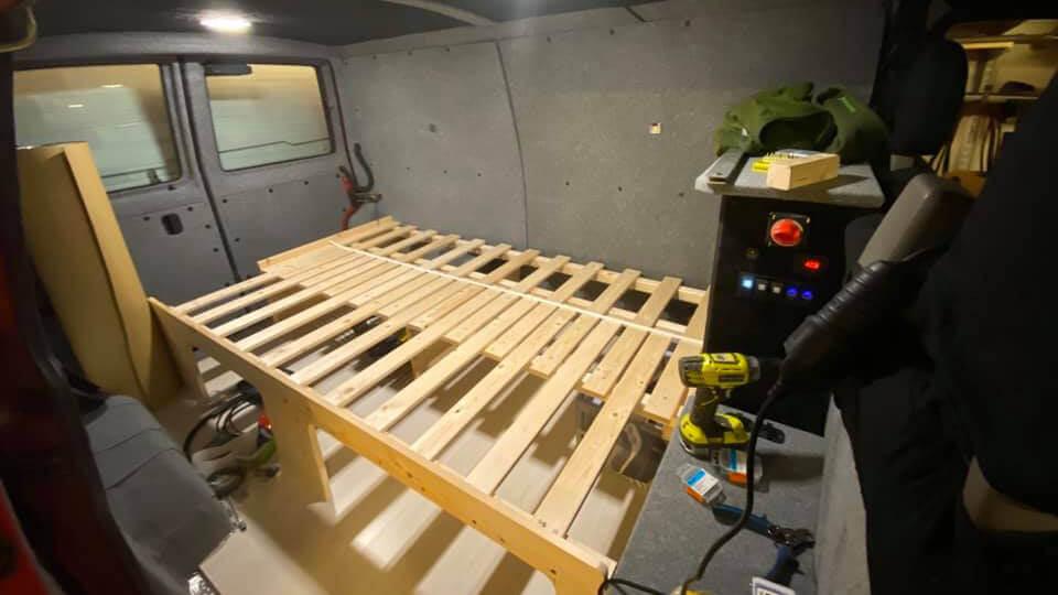 Building camper van interior bed queen size