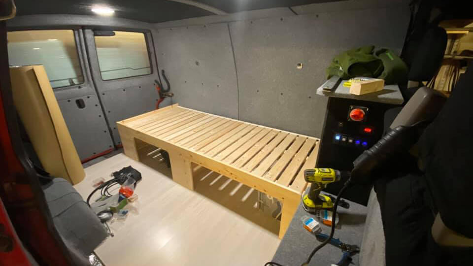 Building camper van interior bed